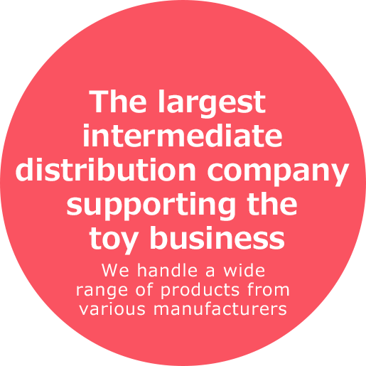 The largest intermediate distribution company supporting the toy business We handle a wide range of products from various manufacturers